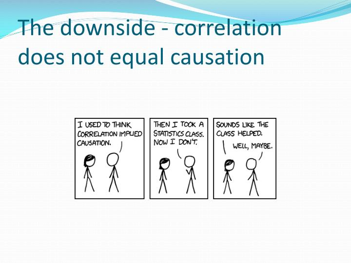 The downside - correlation does not equal causation