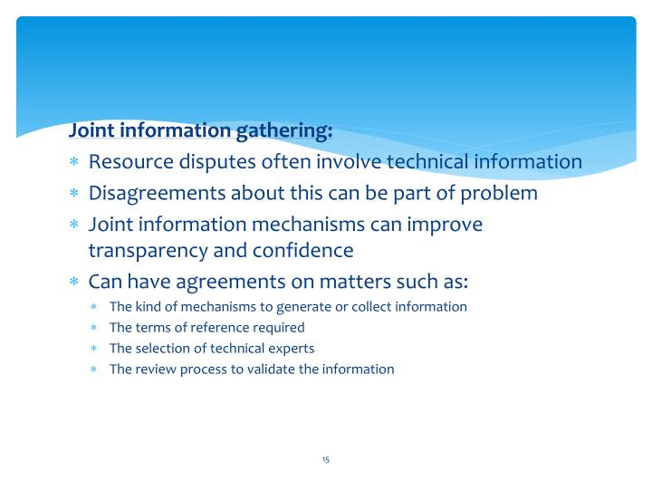 Joint information gathering:
