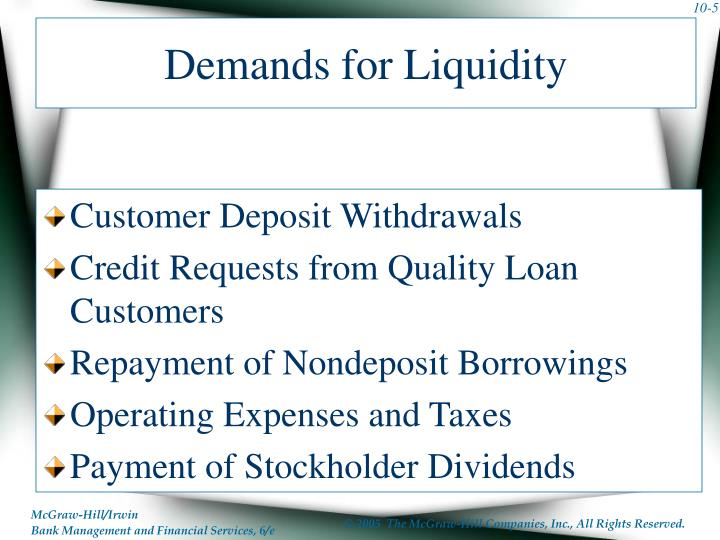 Demands for Liquidity