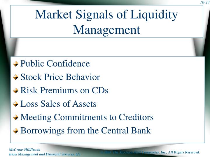 Market Signals of Liquidity Management