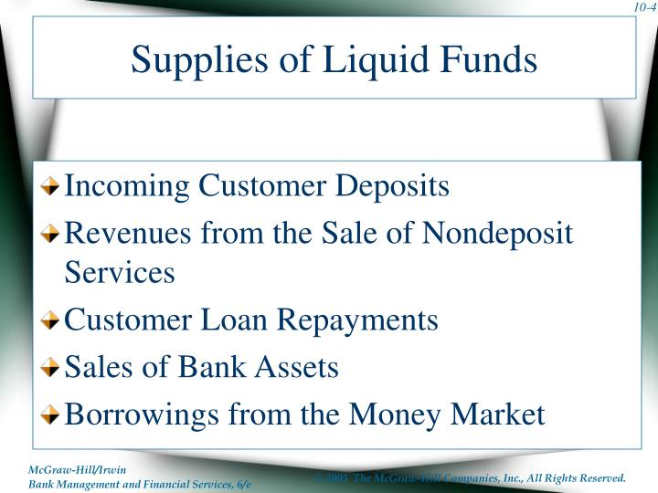 Supplies of Liquid Funds