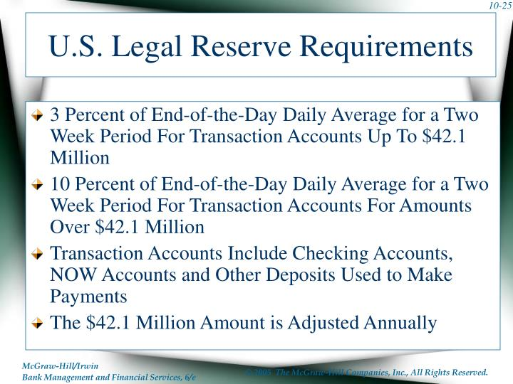 U.S. Legal Reserve Requirements