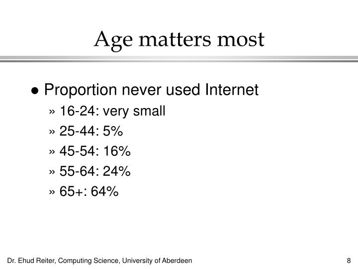 Age matters most