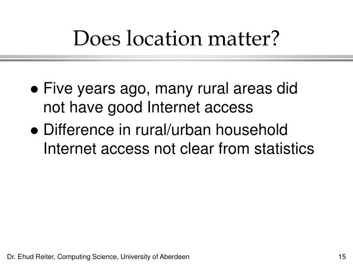 Does location matter?