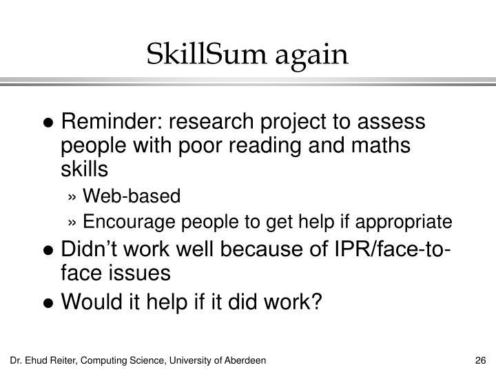 SkillSum again