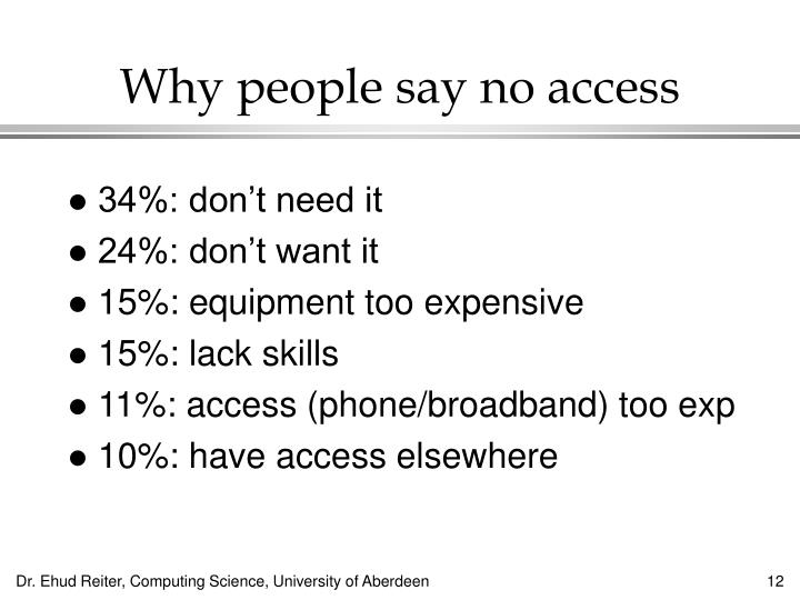 Why people say no access