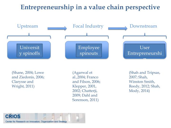 Entrepreneurship in a value chain perspective