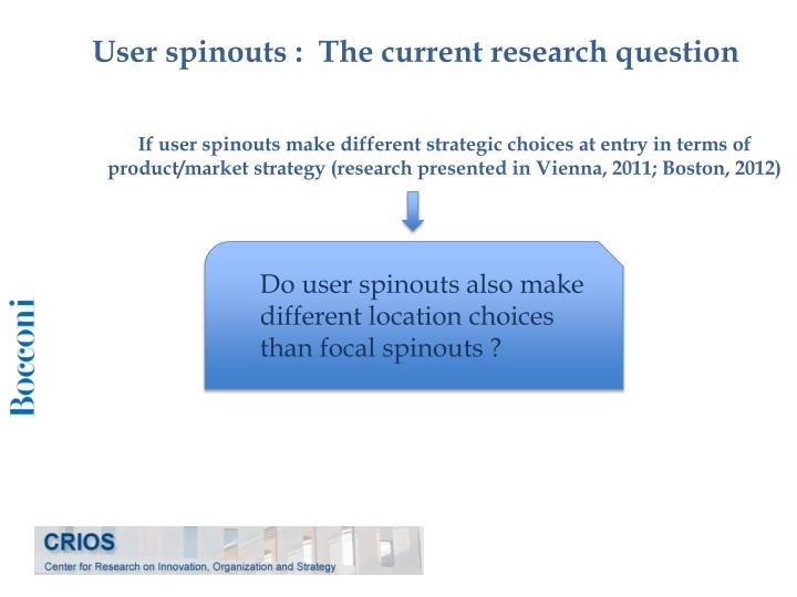 User spinouts :  The current research question
