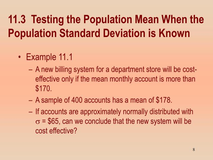 11.3  Testing the Population Mean When the Population Standard Deviation is Known