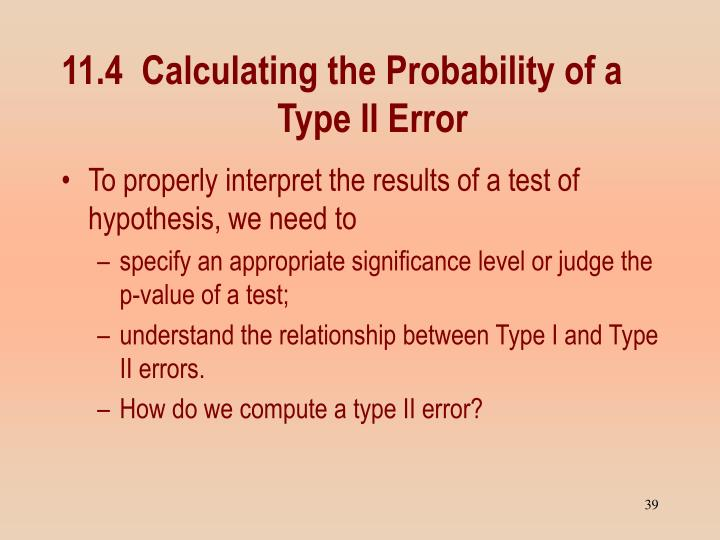 11.4  Calculating the Probability of a Type II Error