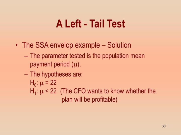 A Left - Tail Test