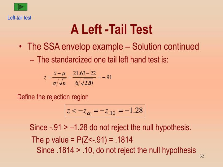 Left-tail test