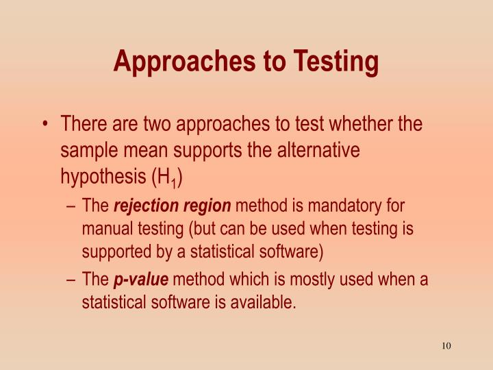Approaches to Testing