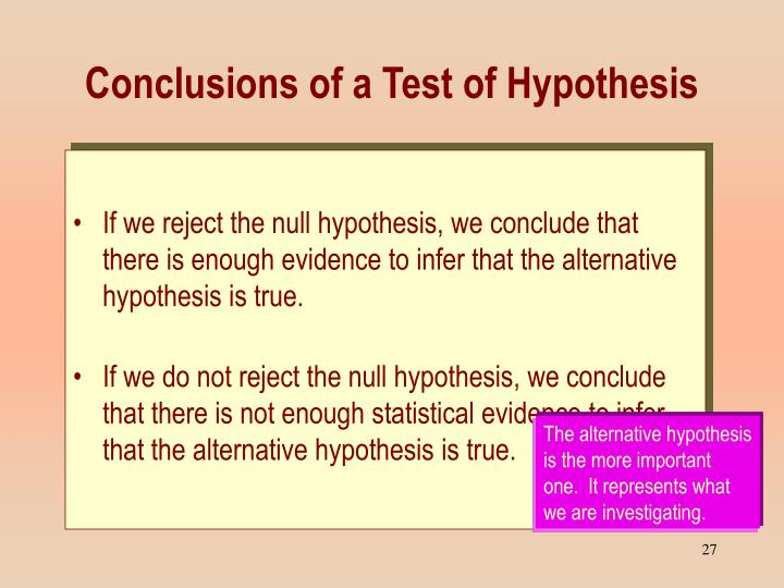 Conclusions of a Test of Hypothesis