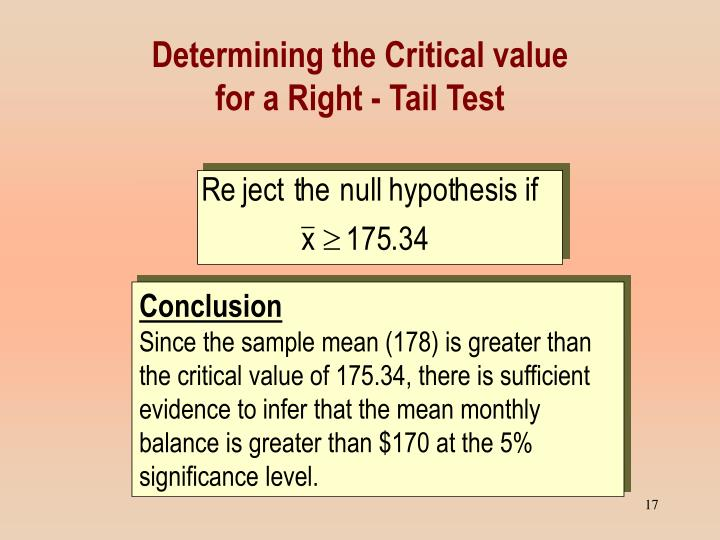 Determining the Critical value
