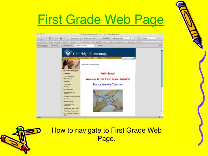First Grade Web Page