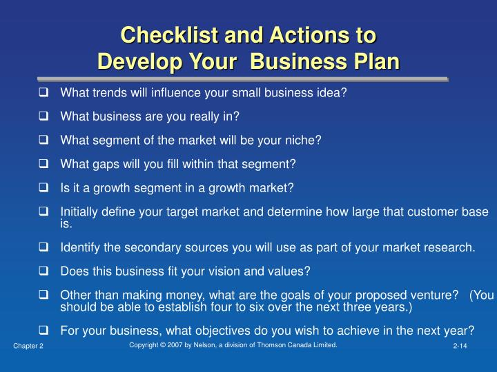 Checklist and Actions to