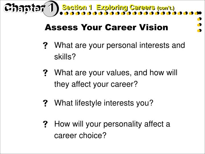 Section 1  Exploring Careers