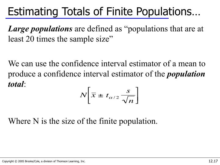 Estimating Totals of Finite Populations…