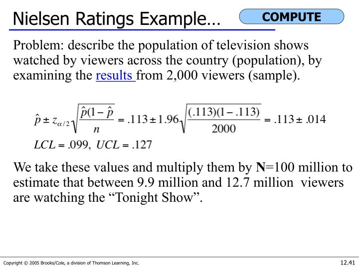 Nielsen Ratings Example…