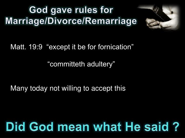 God gave rules for