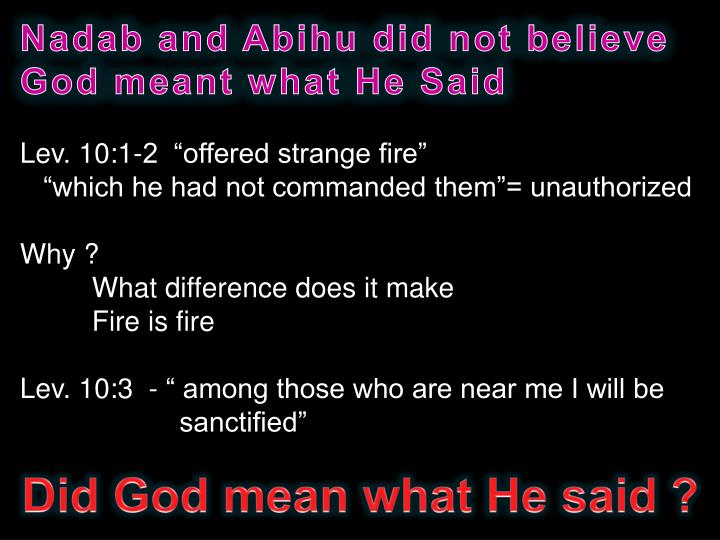 Nadab and Abihu did not believe