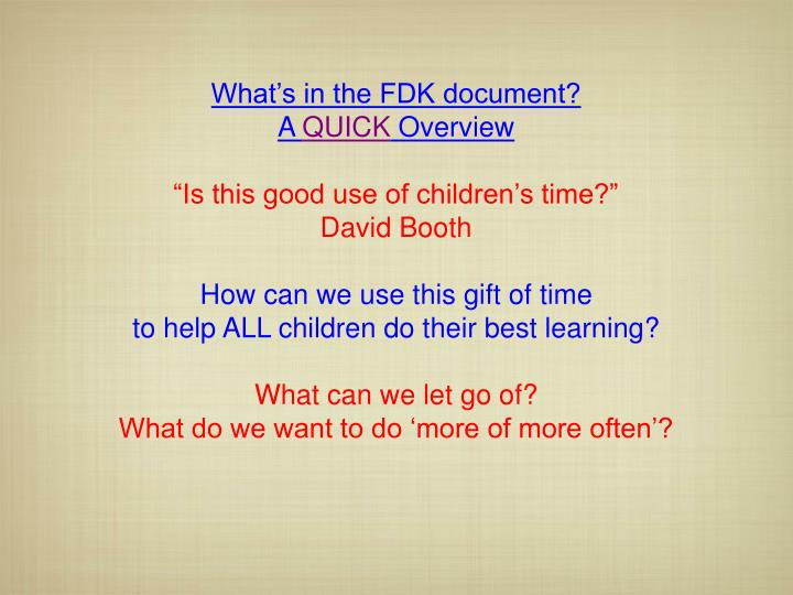 What's in the FDK document?