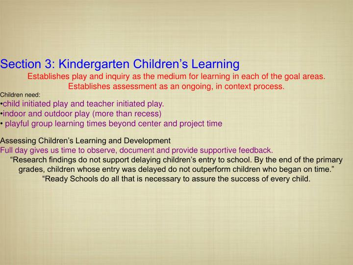 Section 3: Kindergarten Children's Learning
