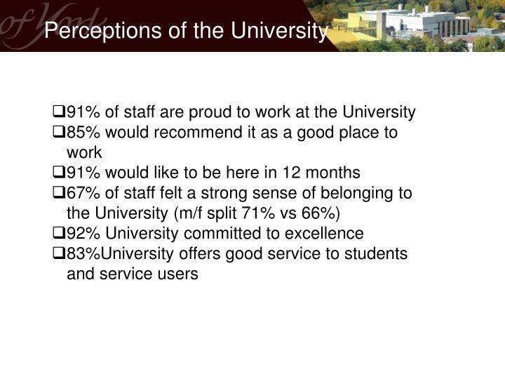 Perceptions of the University
