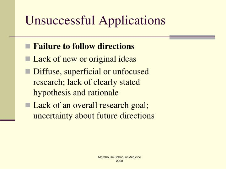 Unsuccessful Applications