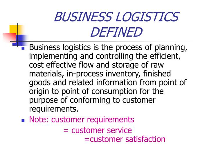Business logistics defined