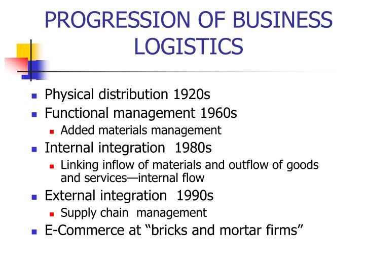 PROGRESSION OF BUSINESS LOGISTICS
