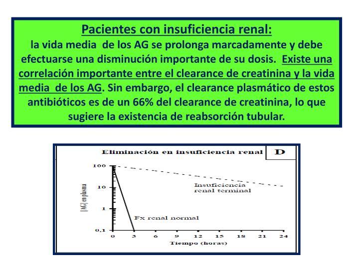 Pacientes con insuficiencia renal: