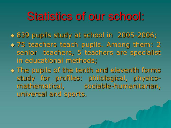 Statistics of our school: