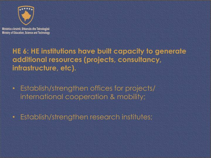 HE 6: HE institutions have built capacity to generate additional resources (projects, consultancy, infrastructure,