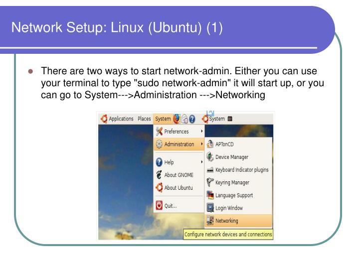 Network Setup: Linux (Ubuntu) (1)