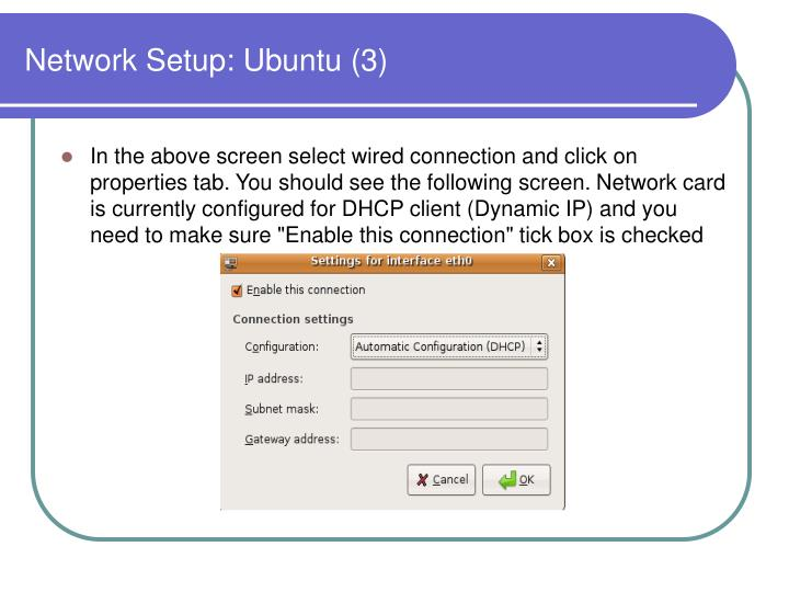 Network Setup: Ubuntu (3)