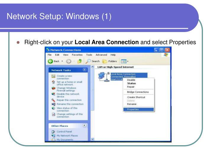 Network Setup: Windows (1)