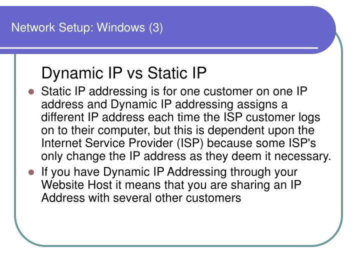 Network Setup: Windows (3)