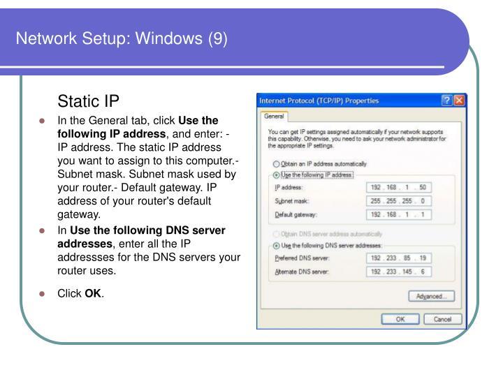 Network Setup: Windows (9)