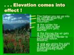 elevation comes into effect