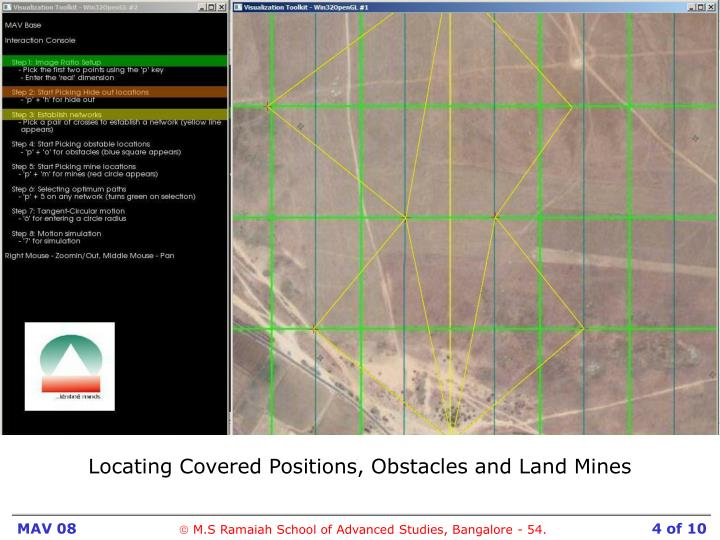 Locating Covered Positions, Obstacles and Land Mines