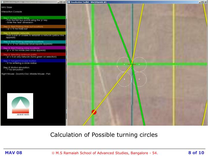 Calculation of Possible turning circles