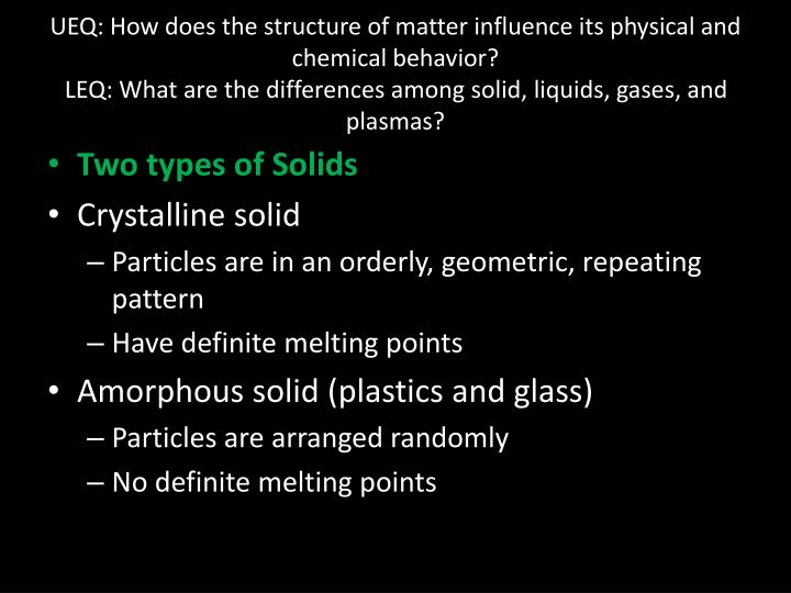UEQ: How does the structure of matter influence its physical and chemical behavior?