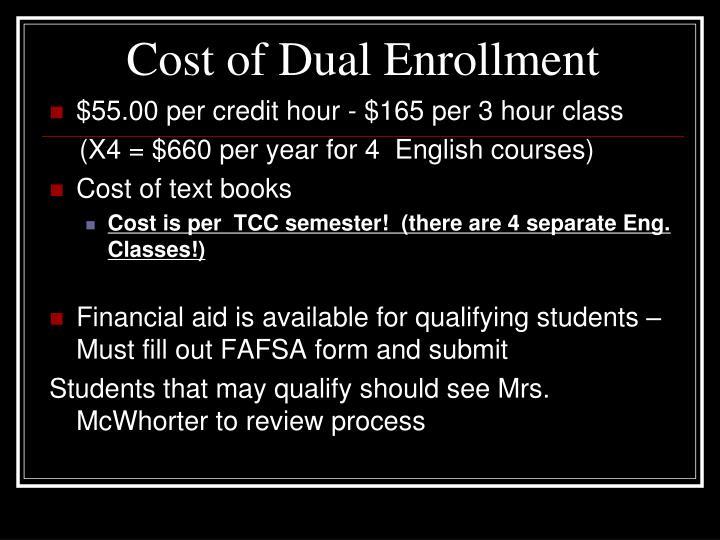 Cost of Dual Enrollment