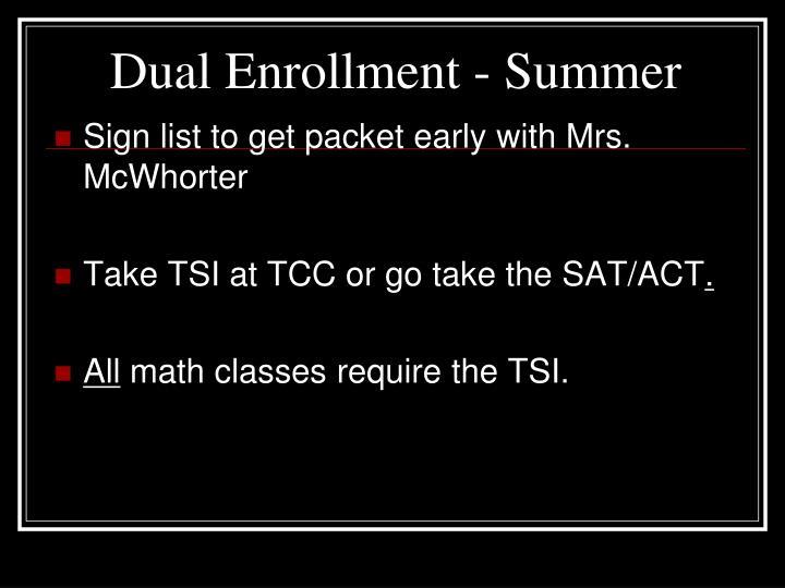 Dual Enrollment - Summer