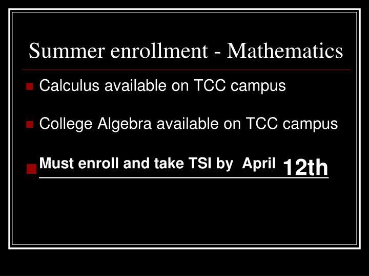 Summer enrollment - Mathematics