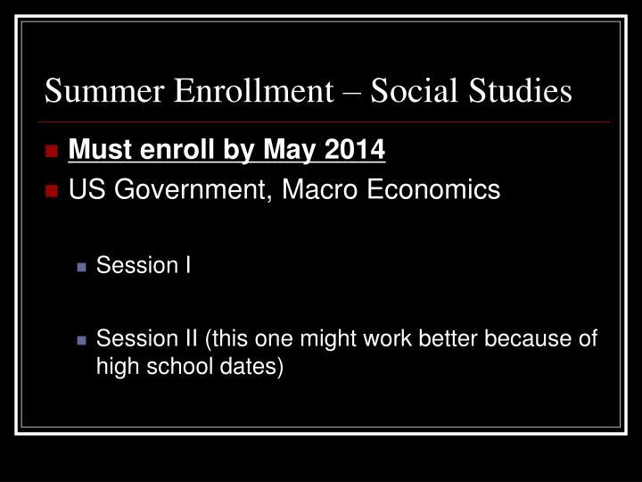 Summer Enrollment – Social Studies