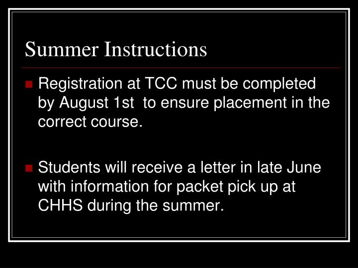 Summer Instructions