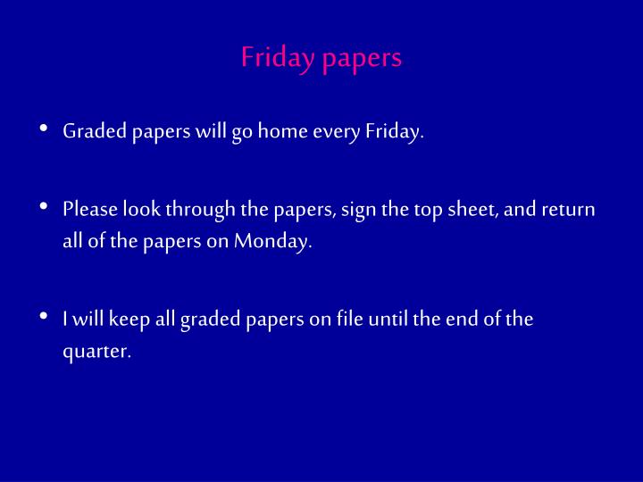 Friday papers